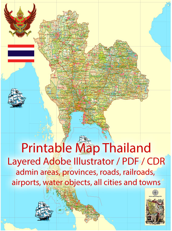 Map Thailand Admin, Roads, Cities, Towns, Railroads, Water, Airports