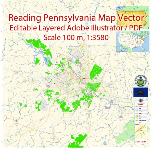 Reading Pennsylvania Map Vector Exact City Plan detailed Street Map editable Adobe Illustrator in layers
