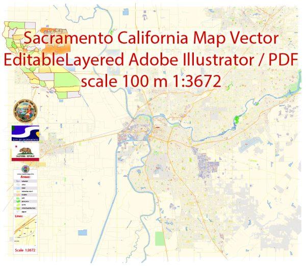 Sacramento California Map Vector Exact City Plan detailed Street Map editable Adobe Illustrator in layers