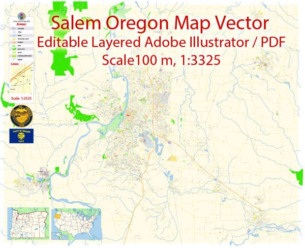 Salem Oregon Map Vector Exact City Plan detailed Street Map editable Adobe Illustrator in layers