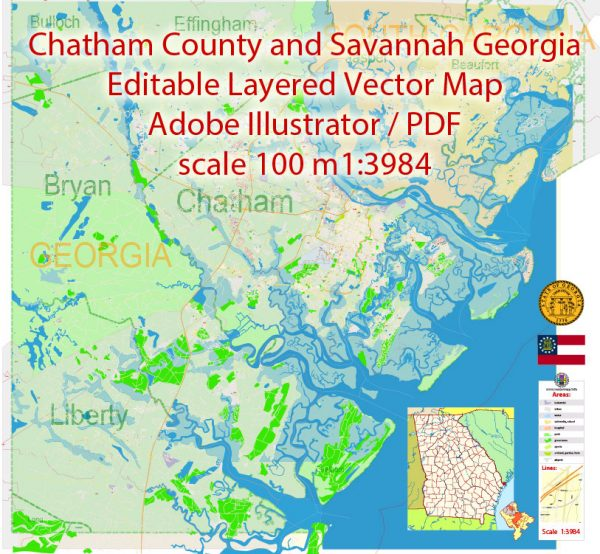 Savannah Chatham County Georgia Map Vector Exact City Plan detailed Street Map + Admin + ZIPcodes Map editable Adobe Illustrator in layers