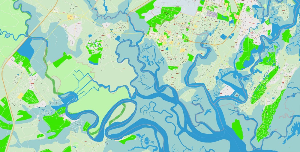 Pdf map Savannah Chatham County Georgia PDF