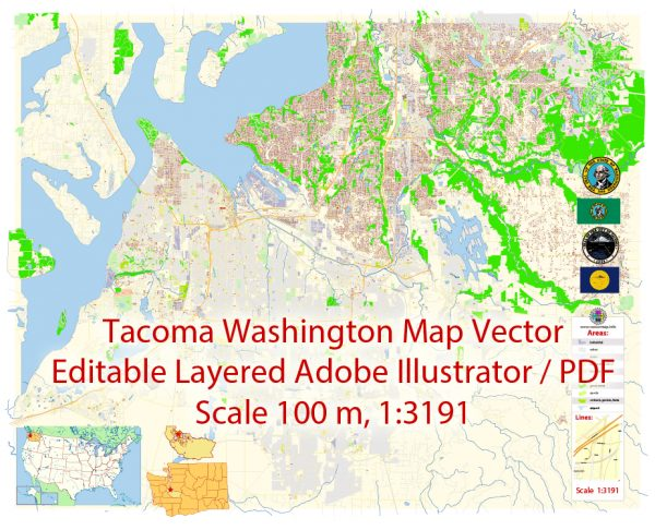 Tacoma Washington Map Vector Exact City Plan detailed Street Map editable Adobe Illustrator in layers