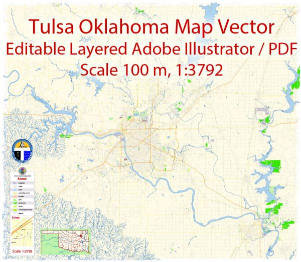 Tulsa Oklahoma Map Vector Exact City Plan detailed Street Map editable Adobe Illustrator in layers