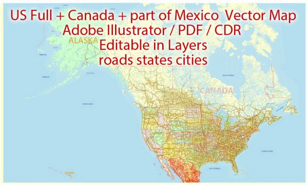 Map US Canada part of Mexico all Roads, Cities, States, all names