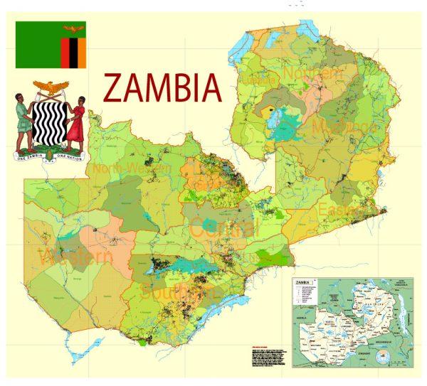 Exact Detailed Map Zambia Admin, Roads, Cities, Towns, Railroads, Water objects
