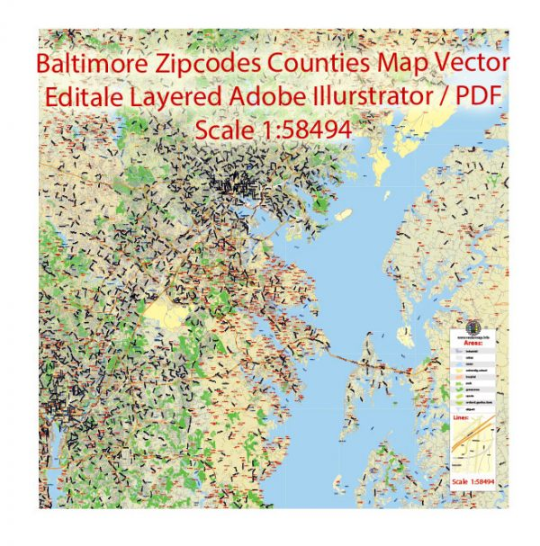 Baltimore Maryland Map Vector Exact City Plan Low detailed Street Map + Zipcodes editable Adobe Illustrator in layers