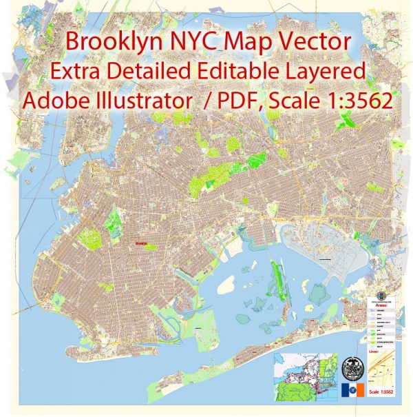 Brooklyn New York Map Vector Exact City Plan extra detailed Street Map editable Adobe Illustrator in layers
