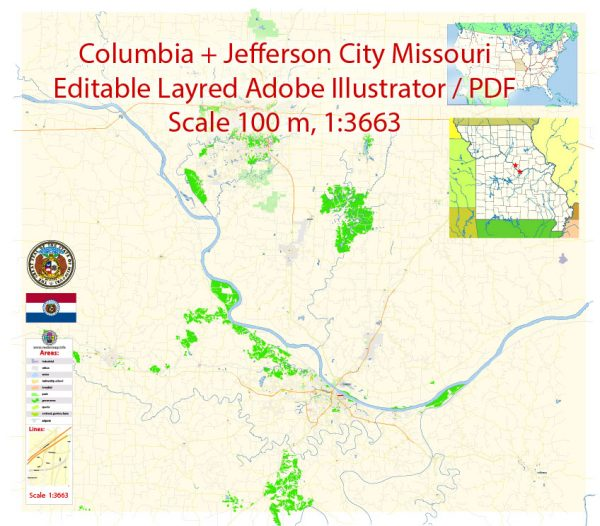 Columbia Jefferson City Missouri Map Vector Exact City Plan detailed Street Map editable Adobe Illustrator in layers