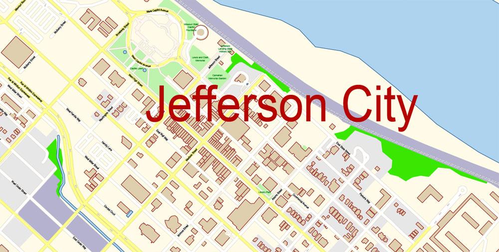 Street map Columbia Jefferson City Missouri