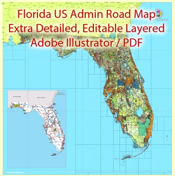 Florida State Vector Map exact extra detailed All Roads, Cities and Counties map editable Layered Adobe Illustrator