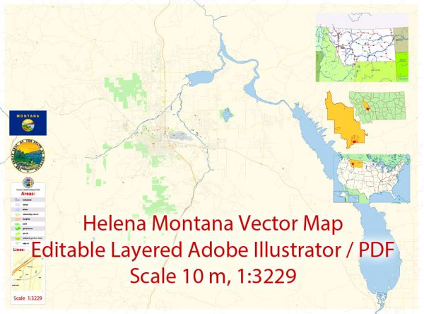 Helena Montana Map Vector Exact City Plan detailed Street Map editable Adobe Illustrator in layers