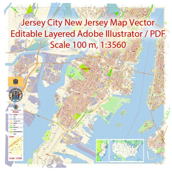 Jersey City New Jersey Map Vector Exact City Plan detailed Street Map editable Adobe Illustrator in layers
