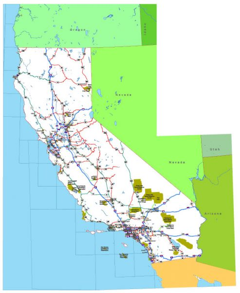 Free vector map State California US Adobe Illustrator and PDF download