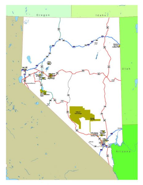 Free vector map State Nevada US Adobe Illustrator and PDF download
