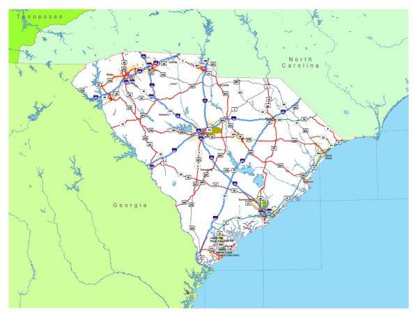 Free vector map State South Carolina US Adobe Illustrator and PDF download