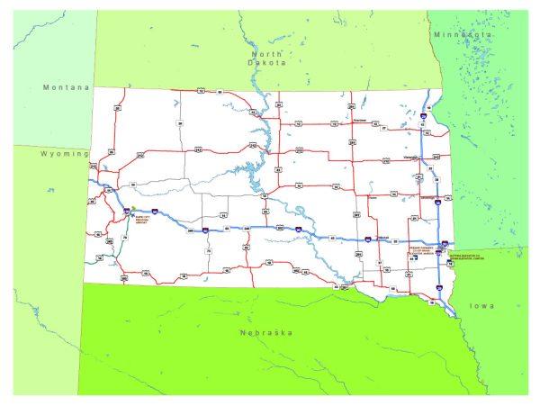 Free vector map State South Dakota US Adobe Illustrator and PDF download