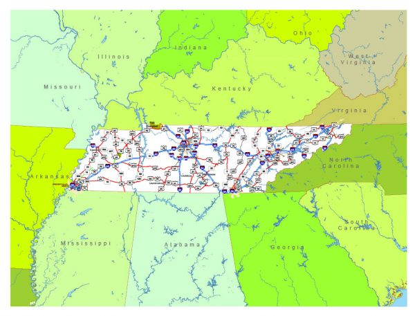 Free vector map State Tennessee US Adobe Illustrator and PDF download