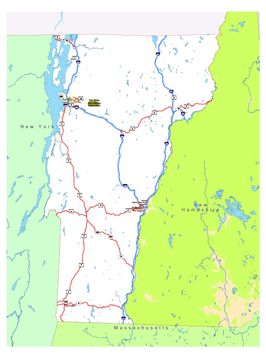 Free vector map State Vermont US Adobe Illustrator and PDF download