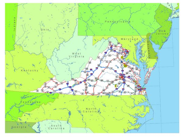 Free vector map State Virginia US Adobe Illustrator and PDF download