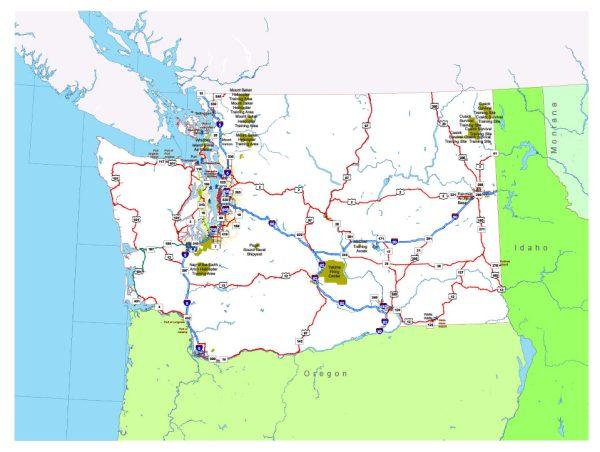 Free vector map State Washington US Adobe Illustrator and PDF download