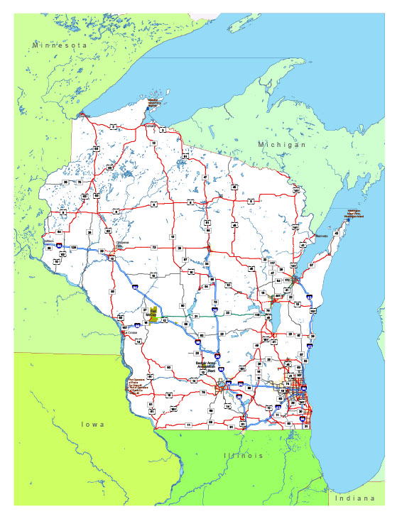 Free vector map State Wisconsin US Adobe Illustrator and PDF download