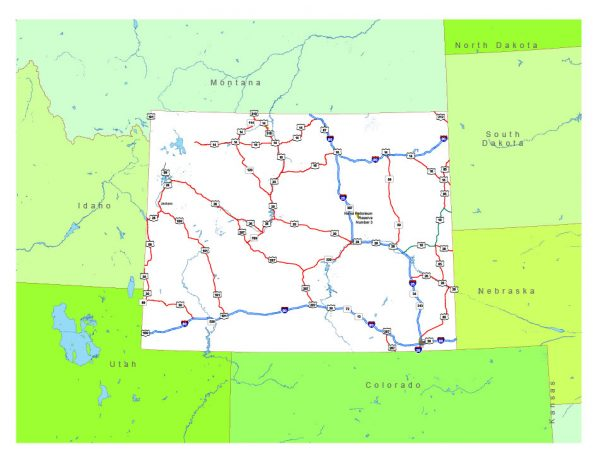 Free vector map State Wyoming US Adobe Illustrator and PDF download