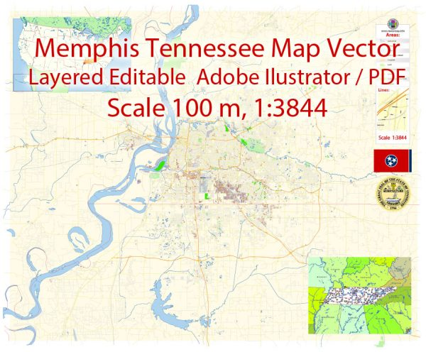 Memphis Tennessee Map Vector Exact City Plan detailed Street Map editable Adobe Illustrator in layers