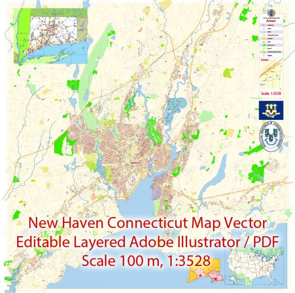 New Haven Connecticut Map Vector Exact City Plan detailed Street Map editable Adobe Illustrator in layers