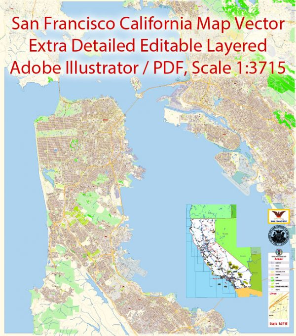 San Francisco + Oakland California Map Vector Exact City Plan extra detailed Street Map editable Adobe Illustrator in layers