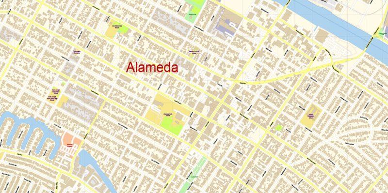 San Francisco + Oakland California Map Vector Exact City Plan extra detailed Street Map editable Adobe Illustrator in layers