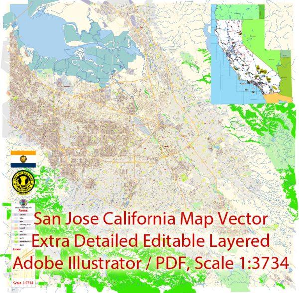 San Jose California Map Vector Exact City Plan extra detailed Street Map editable Adobe Illustrator in layers