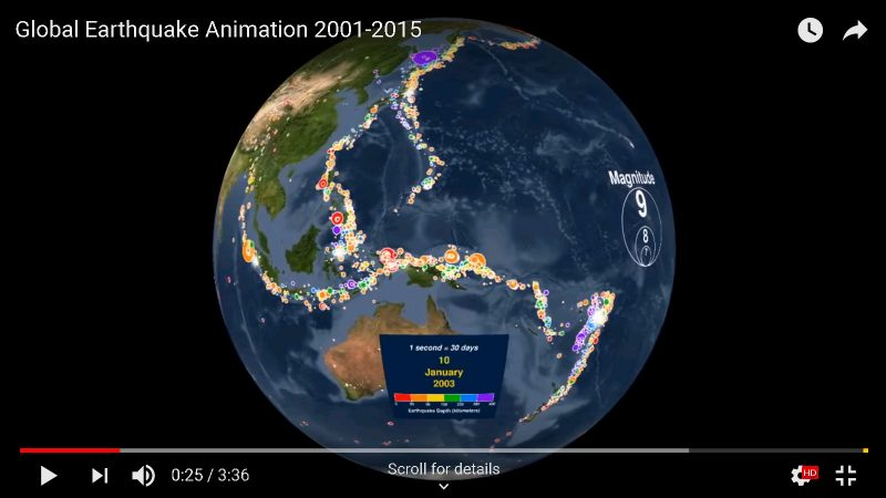 Earthquake map from 2001 to 2015