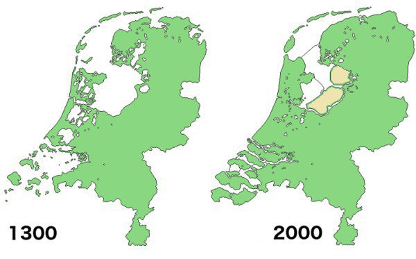 Map Netherlands: The successes of the Dutch over 700 years of war against the North Sea.