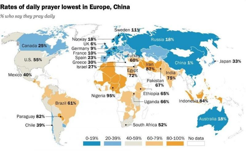 Map: Percentage of daily prayers by country