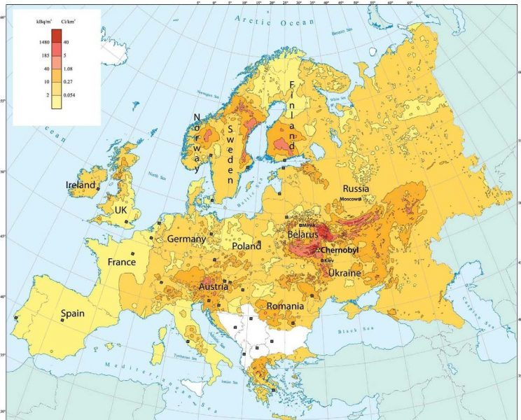 Radiation Pollution Chart, 2006, Chernobyl Nuclear Catastrophe