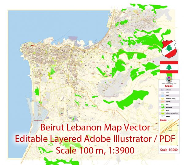 Beirut Lebanon Map Vector Exact City Plan detailed Street Map editable Adobe Illustrator in layers