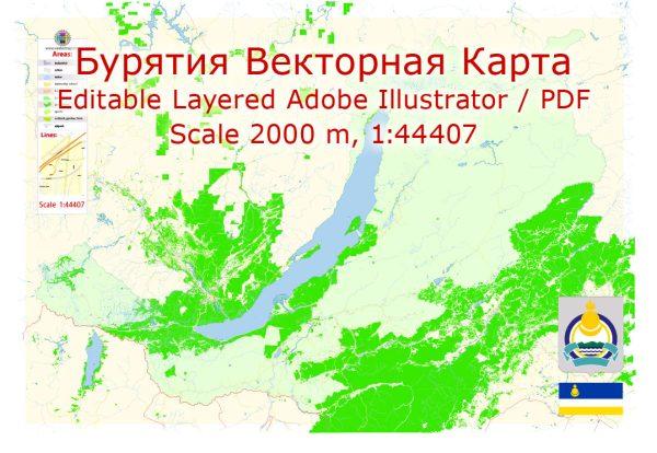 Бурятия Россия Карта Векторная подробная редактируемая, Adobe Illustrator