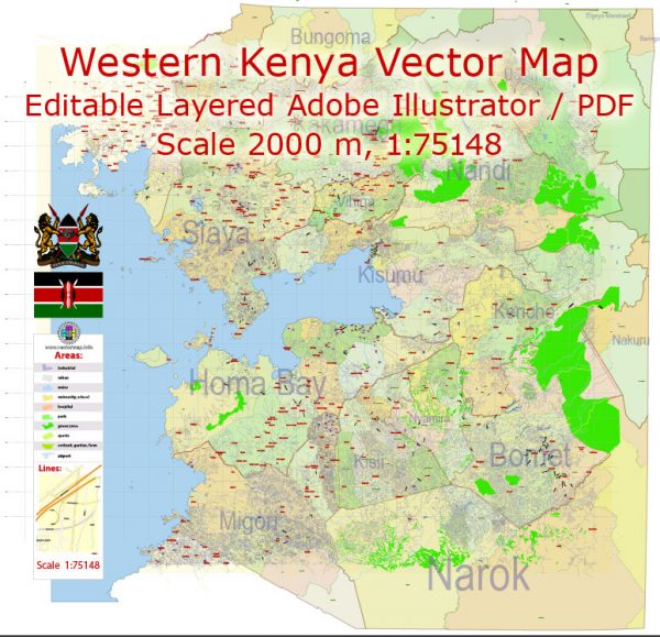 Kenya Western Part Map Vector Exact Country Plan detailed Road Admin Map editable Adobe Illustrator in layers