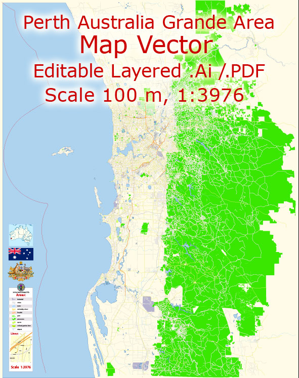 Perth Australia Map Vector Grande Exact City Plan detailed Street Map editable Adobe Illustrator in layers