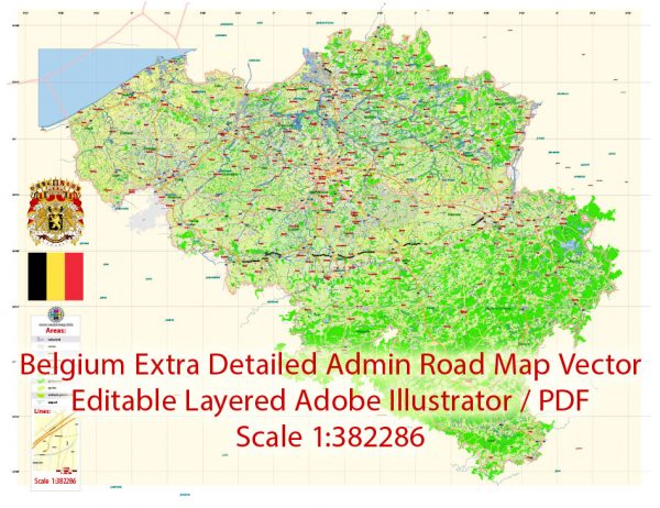 Belgium 01 Map Vector Exact Plan Extra Detailed Road Admin Map editable Adobe Illustrator in layers