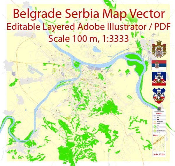 Belgrade Serbia Map Vector Grande Exact City Plan detailed Street Map editable Adobe Illustrator in layers