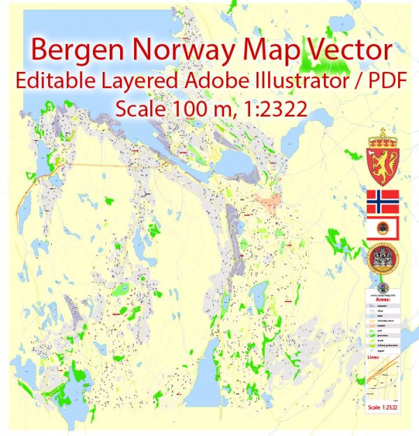 Bergen Norway Map Vector Grande Exact City Plan detailed Street Map editable Adobe Illustrator in layers
