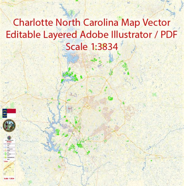 Charlotte North Carolina Map Vector Grande Exact City Plan detailed Street Map editable Adobe Illustrator in layers