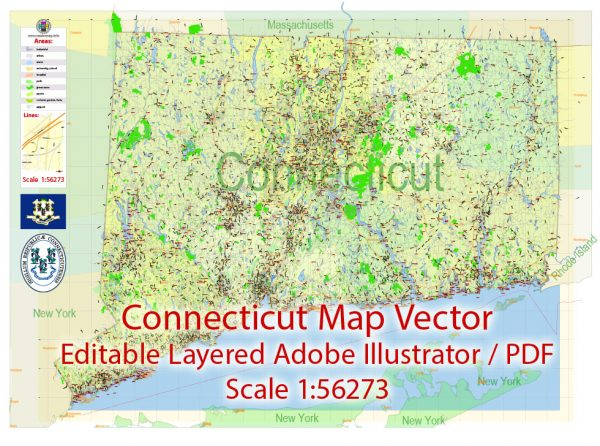 Connecticut State Map Vector Exact Plan detailed Road Admin Map editable Adobe Illustrator in layers