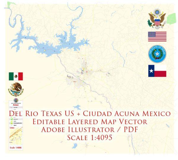 Del Rio Texas US + Ciudad Acuña Mexico Map Vector Exact City Plan detailed Street Map editable Adobe Illustrator in layers