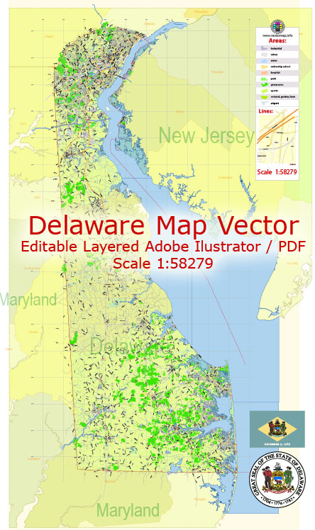 Delaware State Map Vector Exact Plan detailed Road Admin Map editable Adobe Illustrator in layers