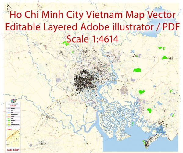 Ho Chi Minh City Vietnam Map Vector Exact City Plan detailed Street Map editable Adobe Illustrator in layers