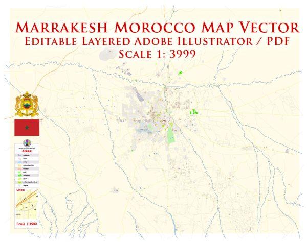 Marrakesh Morocco Map Vector Exact City Plan detailed Street Map editable Adobe Illustrator in layers
