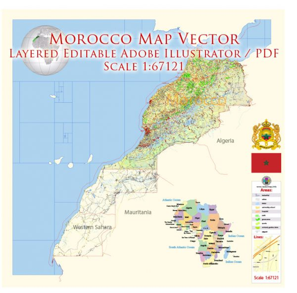 Morocco Map Vector Exact City Plan detailed Street Road Admin Map editable Adobe Illustrator in layers